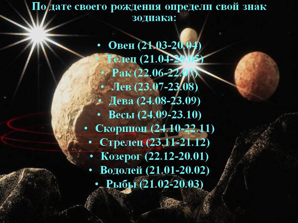 Зодиакальный гороскоп представляет из себя 12 знаков зодиака, характеристика которых зависит от даты рождения человека.